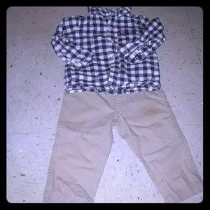 Carter's blue, white Plaid & khaki outfit size 12m